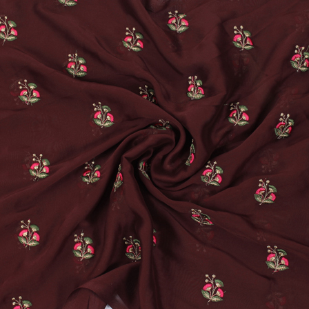Brown Chiffon Fabric With Green-Pink and Golden Flower Embroidery-60802