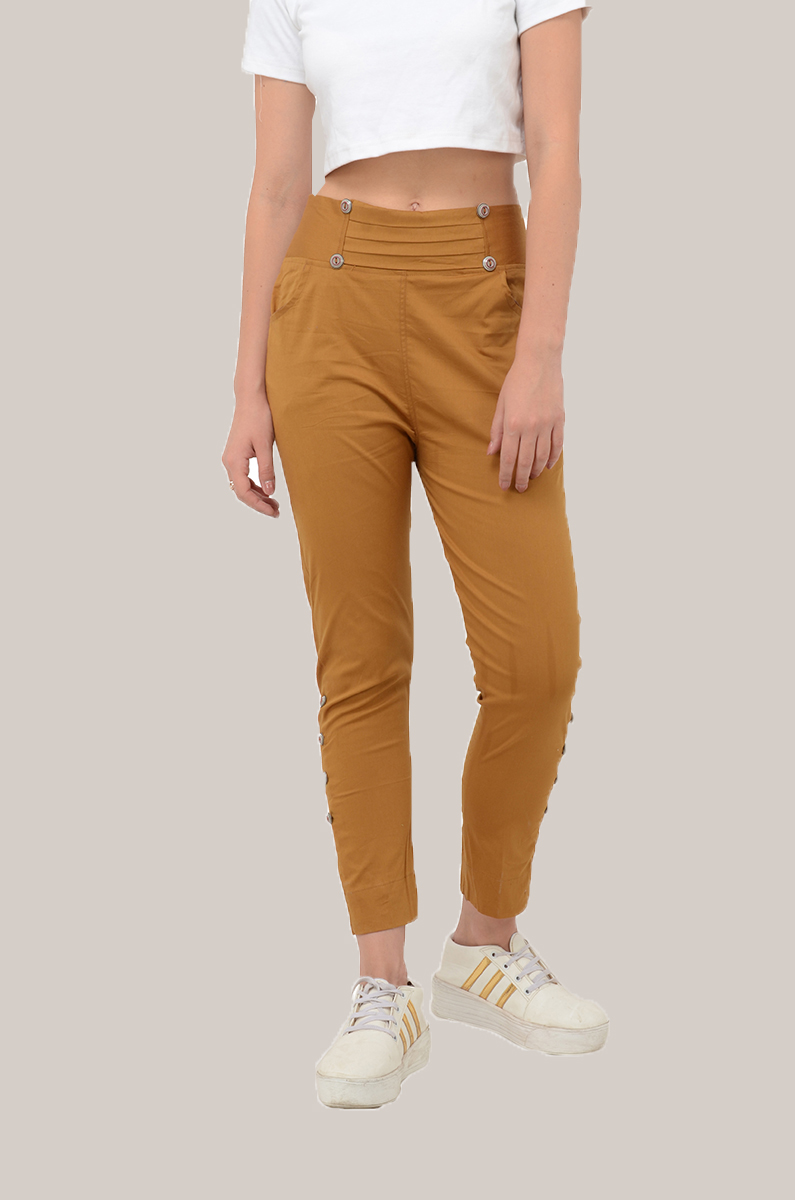 Brown Cotton Lycra Roll Up Pant-33490