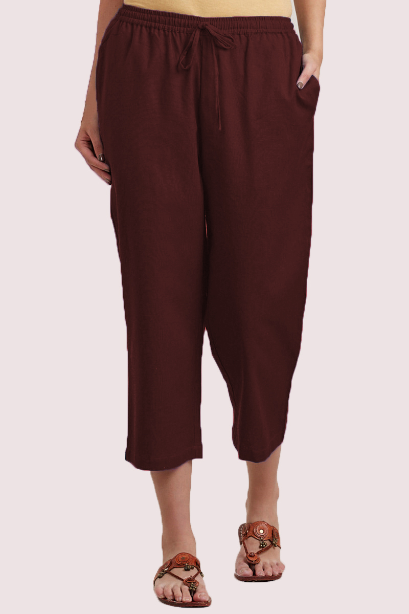 Brown Cotton Solid Women Culottes-33853