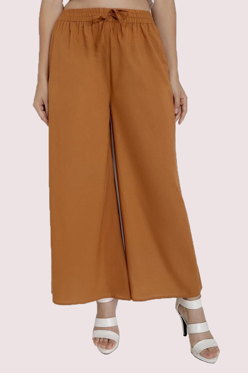Brown Cotton Solid Women Palazzo-33312