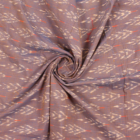 Brown Cream Ikat Cotton Fabric-12240