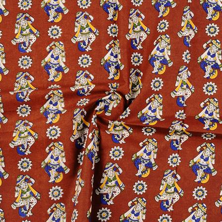 Brown-Cream and Yellow Cotton Kalamkari Fabric-10147