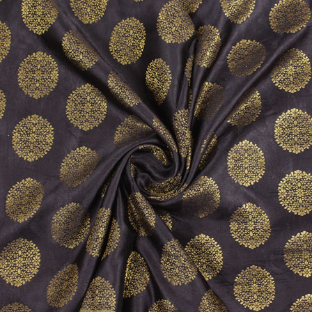 Brown Golden Brocade Satin Silk Fabric-9050