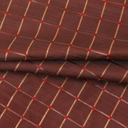 Brown Golden Checks Zari Brocade Silk Fabric-9296