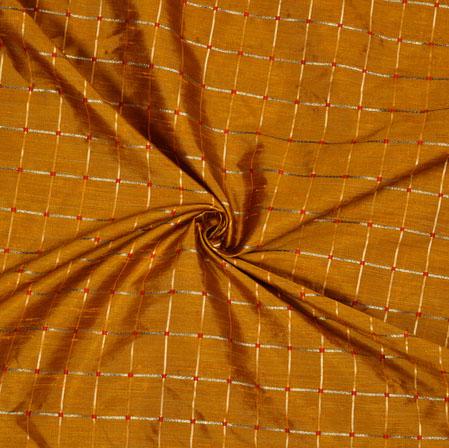 Brown Golden Checks Zari Taffeta Silk Fabric-12654