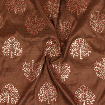 Brown Golden Tree Digital Banarasi Silk Fabric-9221