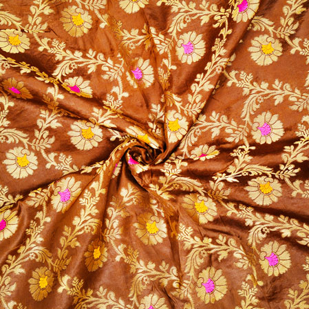 Brown Golden and Pink Floral Satin Brocade Silk Fabric-12561