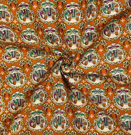 Brown Green Animal Cotton Kalamkari Fabric-28009
