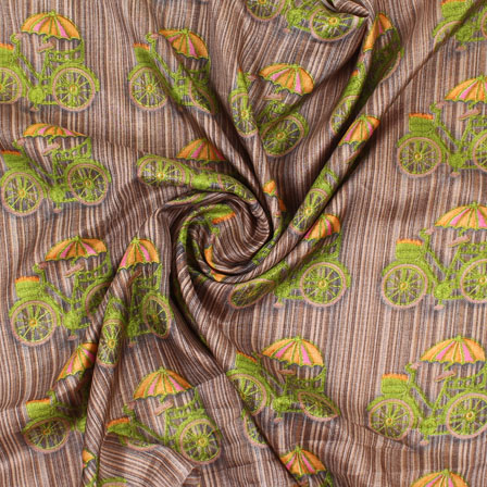 Brown Green Manipuri Silk Fabric-16425