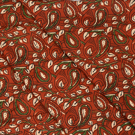 Brown-Green and Black Paisley Design Hand Block Muslin Fabric-20014