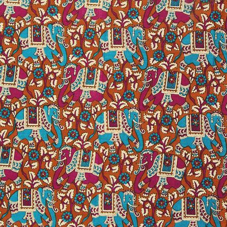 Brown-Green and Cream Elephant Design Kalamkari Cotton Fabric-10050