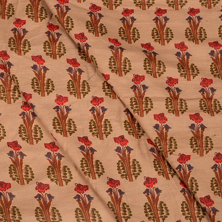 Brown-Green and Red Flower Design Hand Block Muslin Fabric-20010