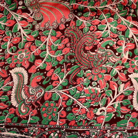 Brown-Green and Red Flower Design Kalamkari Fabric-5447