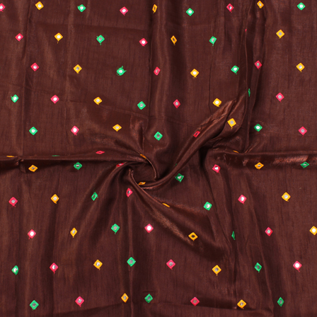 Brown-Green and Yellow Square Design Silk Embroidery Fabric-60127