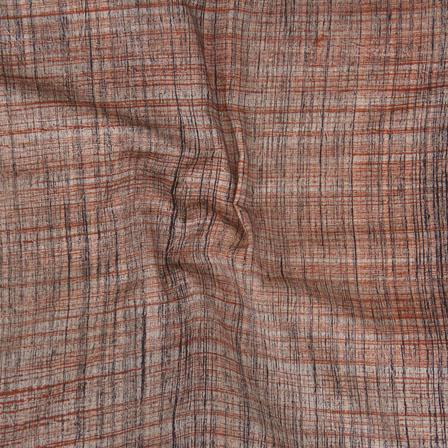 Brown Khadi Block Print Cotton Fabric-14798