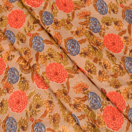 Brown-Orange and Green Floral Design Hand Block Muslin Fabric-20009
