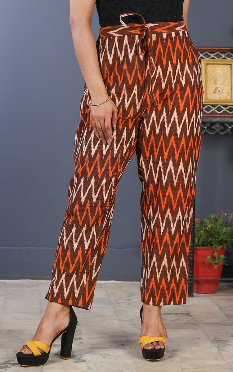 Brown Orange and White Cotton Ikat Ankle Women Pant-34692