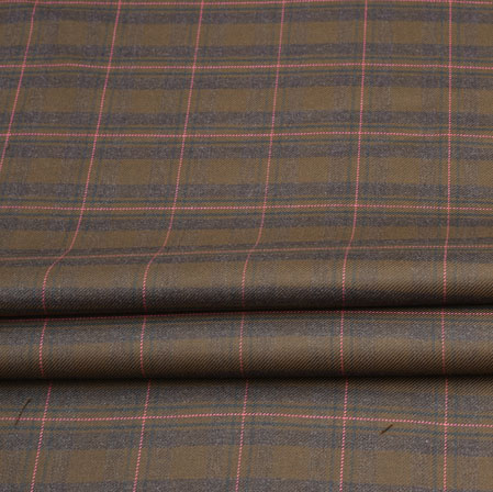 Brown Pink Check Wool Fabric-90125