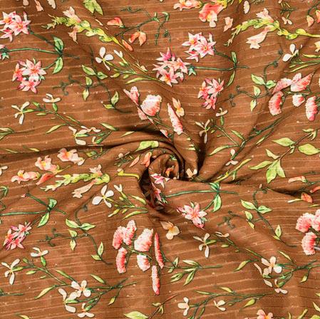 Brown Pink Floral Georgette Digital Silk Fabric-19068