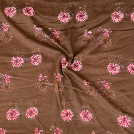 Brown Pink and Brown Cycle Print Rayon Fabric-15199