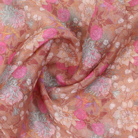 Brown-Pink and White Flower Organza Digital Print Fabric-51400
