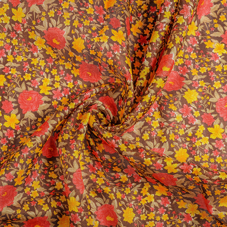 Brown-Pink and Yellow Flower Banglori Silk Fabric-37003