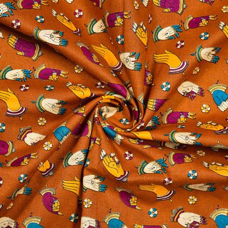 Brown Pink and Yellow Hand-Mudra Cotton Kalamkari Fabric-28001