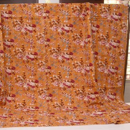Brown-Pink and Yellow Handmade Flower Pattern Kantha Quilt-4365