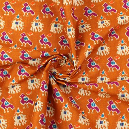 Brown-Purple and Cream Elephant Pattern Kalamkari Cotton Fabric-10008