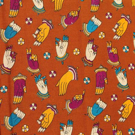 Brown-Purple and Yellow Hand Mudra Design Kalamkari Cotton Fabric-10046