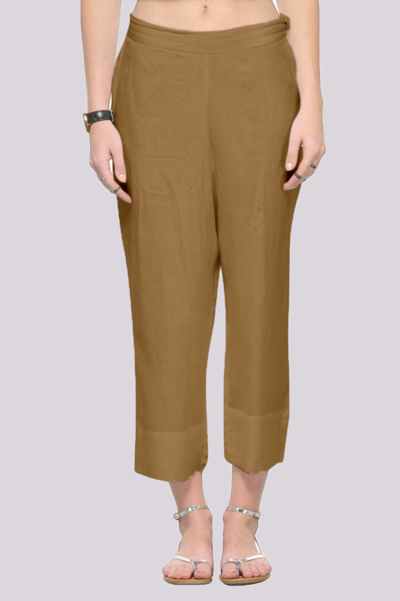 Brown Rayon Ankle Length Pant-33672