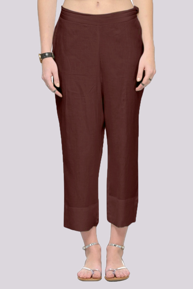 Brown Rayon Ankle Length Pant-33686