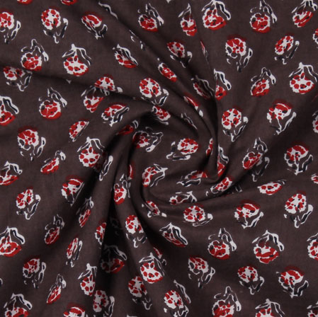 Brown Red Block Print Cotton Fabric-16132