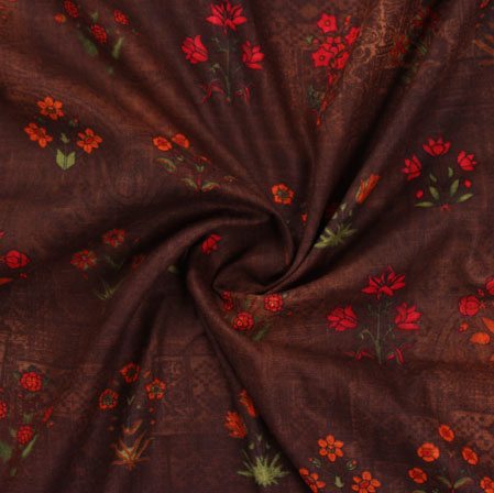 Brown Red Block Print Cotton Fabric-16214