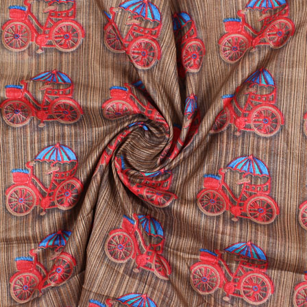 Brown Red Manipuri Silk Fabric-16424