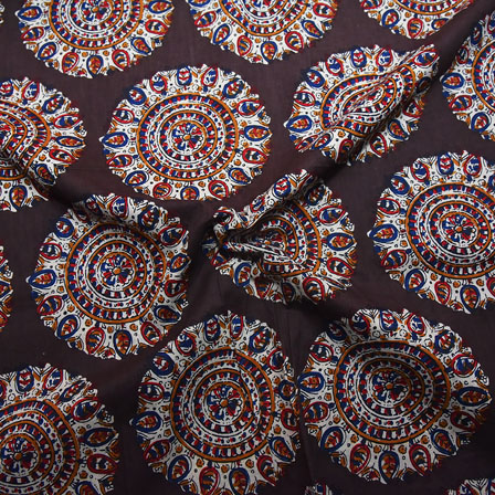 Brown-Red and White Circular Floral Shape Block Print Cotton Fabric-14197