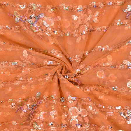 Brown Silver Floral Net Embroidery Fabric-19089