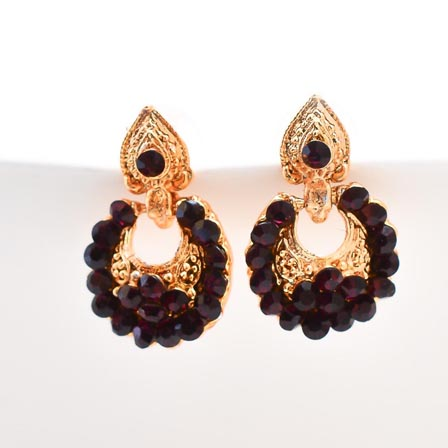 Brown Stone Circular Design with Golden Polish Earring for Women