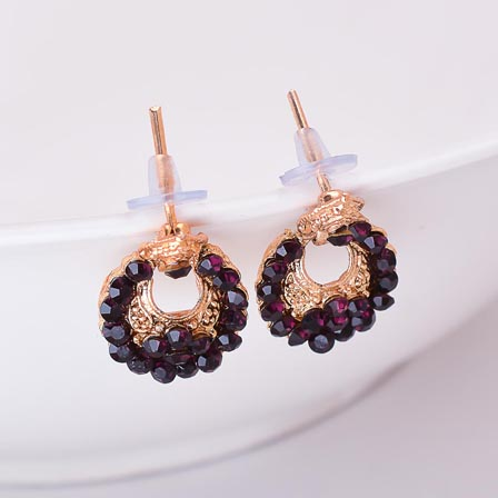 Brown Stone Circular Design with Golden Polish Earrings for Women