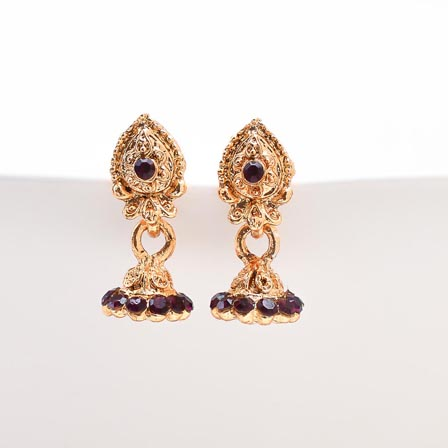 Brown Stone with Golden Polish Jhumki for Women