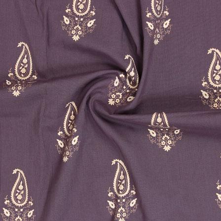 Brown White Block Print Cotton Fabric-14866