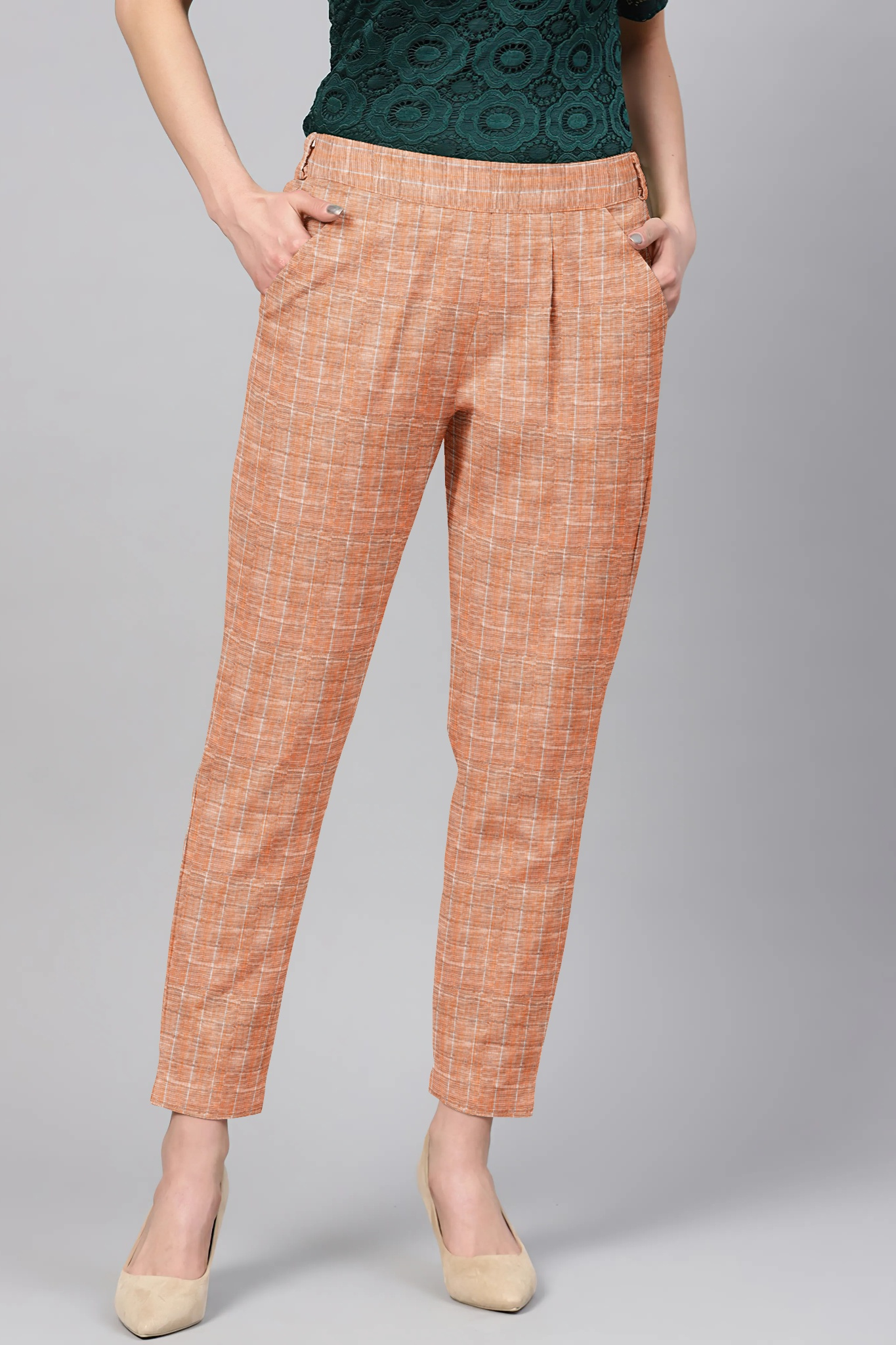 Brown White Cotton Check Regular Fit Solid Trouser-36058