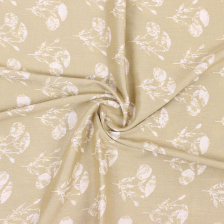 Brown White Floral Print Rayon Fabric-15270