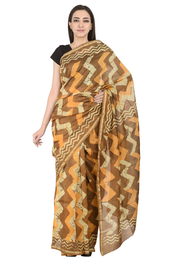 Brown- Off White and Orange Block Print Chanderi Saree-20113