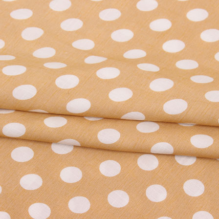 Brown White Polka Print Rayon Fabric-15281