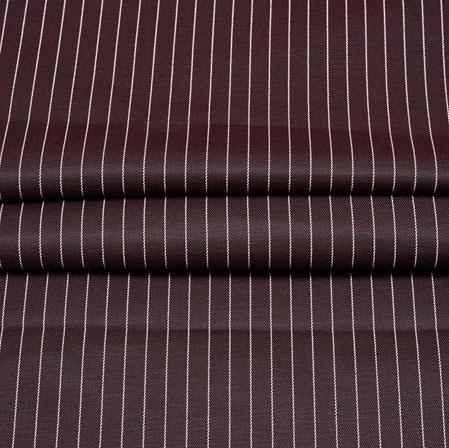 Brown White Stripe Wool Fabric-90185