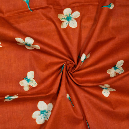 Brown White and Cyan Floral Cotton Print Fabric-28180