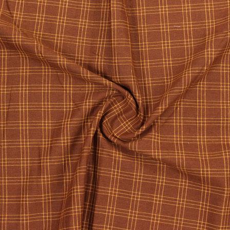 Brown Yellow Check Handloom Khadi Cotton Fabric-40611