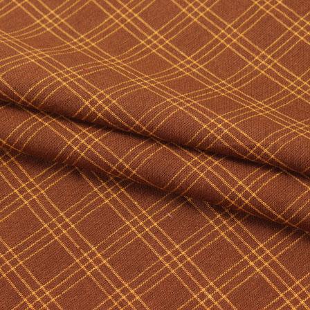 Brown Yellow Check Handloom Cotton Fabric-40611