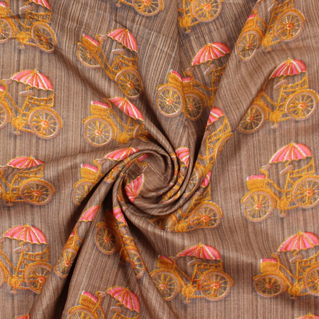 Brown Yellow Manipuri Silk Fabric-16423